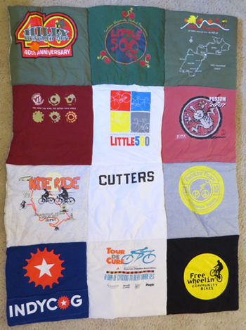 T-Shirts from Indianapolis: Tour de Cure, Freewheelin', Hilly Hundred, Indy Cog, and Little 500.